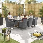 Amelia 8 Seat Dining Set - 2m x 1m Rectangular Table - Grey