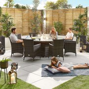 Amelia 8 Seat Dining Set with Fire Pit - 1.8m Round Table - Brown