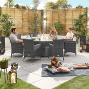 Amelia 8 Seat Dining Set with Fire Pit - 1.8m Round Table - Grey