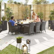 Amelia 8 Seat Dining Set with Fire Pit - 2m x 1m Rectangular Table - Brown