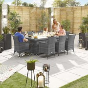 Amelia 8 Seat Dining Set with Fire Pit - 2m x 1m Rectangular Table - Grey
