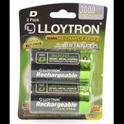 Lloytron Accuultra Rechargable Batteries D 2s (B017)