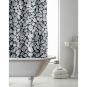 Pebbles Design Shower Curtain With Rings (BAC197550)