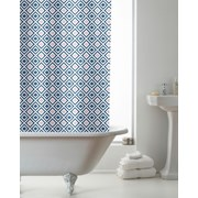 Geo Tile Design Shower Curtain With Rings (BAC200076)