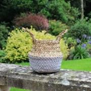 Grey & Natural Two Tone Belly Basket 11.5cm (BK1212)