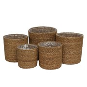 Set Of 5 Seagrass Baskets With Liner (BK1220)