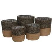 Set Of 5 Blk/nat Jute Rope Baskets With Liner (BK1222)