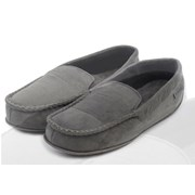 Totes Isotoner Totes Suedette Moccasin With Driving Sole Blk/gry Large (99262BLG