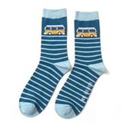 Mr Heron Camper Stripe Socks Teal (MH150TEAL)