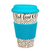 Cambridge But Coffee First Bamboo Travel Mug Blue 16oz (CM05634)