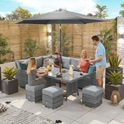 Cambridge Corner Dining Set with Casual Parasol Hole Table - Left Hand - Grey