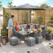 Cambridge Corner Dining Set with Casual Parasol Hole Table - Right Hand - Grey