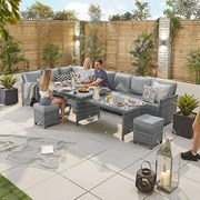 Cambridge Corner Dining Set with Extending Table - Left Hand - Grey