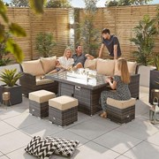 Cambridge Corner Dining Set with Fire Pit Table - Left Hand - Brown