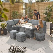 Cambridge Corner Dining Set with Fire Pit Table - Left Hand - Grey