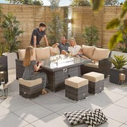 Cambridge Corner Dining Set with Fire Pit Table - Right Hand - Brown