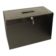Cathedral Metal Home Filing Box With Foolscap - Black (FPHOBK)
