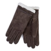 Totes Isotoner Suede Glove With Sherpa Trim Choc Small (69161CHOS)