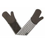 Silicone Oven Glove Gingham Dark Grey Double (V116T)