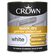 Crown Quick Dry Primer Undercoat Brilliant White 750ml (5089472)