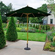 Dominica Deluxe Wooden Parasol - 3m Round - Green
