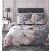 Dramatic Floral Quilt Set Grey Single (BD/46659/W/SQS/GY)