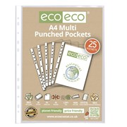 Ecoeco A4 100% Recycled Multi Punched Pockets 25 Pk (ECO009)