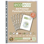 Ecoeco A4 100% Recyc Premier Multi Punched Pockets 25 Pk (ECO011)