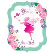 Floral Fairy Sparkle Invitations 8s (PC340145)
