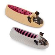 Ks Ladies Pug Ballet Slippers Asst (FT0831D)