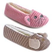 Ks Ladies Cat & Dog Ballet Slippers (FT1055)