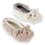 Ks Ladies Bear Plush Ballet Slipper Cream & Grey (FT1071A)