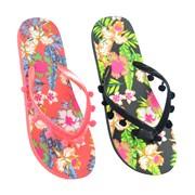 Ks Ladies Floral Flip Flop With Pom Pom (FT1698)