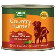 Natures Menu Country Hunter Dog Food Cans Salmon & Chicken 600g (NMCSR)