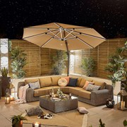 Galaxy LED Cantilever Parasol - 3.5m Round - Beige