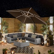 Galaxy LED Cantilever Parasol - 3m Square - Grey