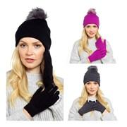 Ladies Bobble Hat & Touchscreen Glove Set (GL550A)