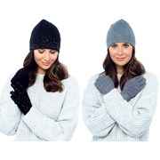 rjm Ladies Hat & Glove Set W Diamontes (GL575)