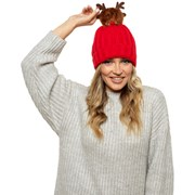 Ladies Rudolph Pom Pom Hat (GL577)