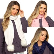 Ladies Chenille Scarf With Bobble Asst (GL578)