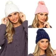 Ladies Chenille Hat W Fur Bobble Asst (GL579)