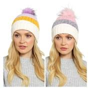 Ladies Striped Bobble Hat Asst (GL583)