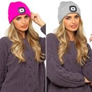 Ladies Led Beanie Hat Grey/neon Pink (GL598)