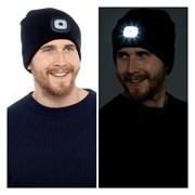 rjm Adults Black Led Beanie Hat (GL621)