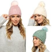 Ladies Brushed Bobble Hat Asst (GL831A)