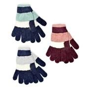 Ladies Striped Chenille Gloves Asst (GL839)