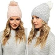 Ladies Brushed Bobble Hat Chevron Design Asst (GL842)