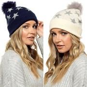 Ladies Star Design Bobble Hat Asst (GL846)