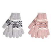 Ladies Fairisle Chenille Gloves Asst (GL851)