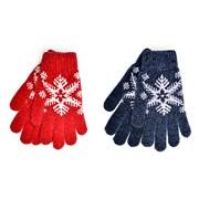 Ladies Snowflake Chenille Gloves Asst (GL853)